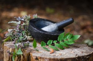 mortar, pestle, herbs