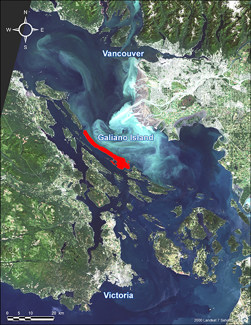 Satellite image showing the location of Galiano Island (red)